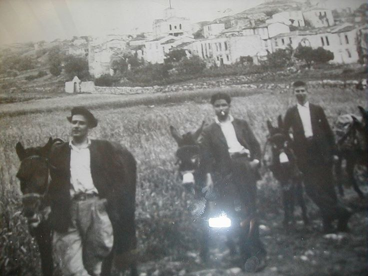 In the background is the church Saint Panteleimon, located in the northern part of Moschonisi. Today it has been destroyed.