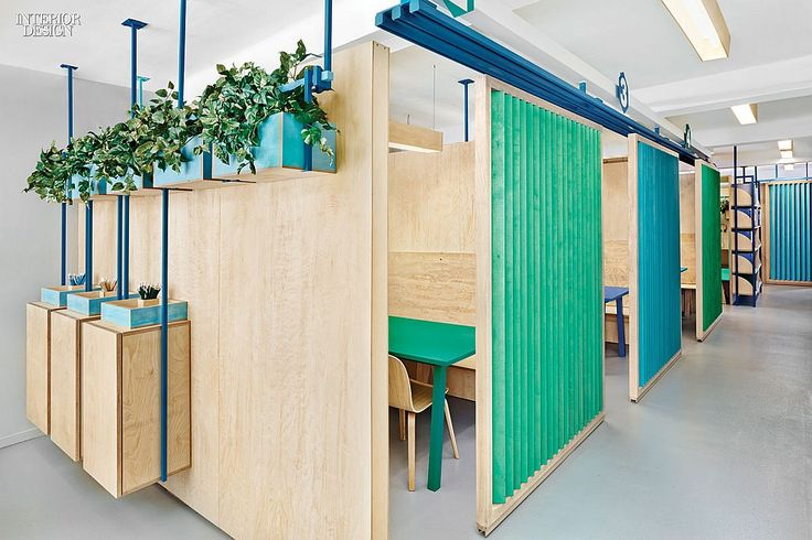 Masquespacio Renovates a Language Center near Barcelona | Plywood slats for sliders. #design #interiordesign #interiordesignmagazine #projects #education