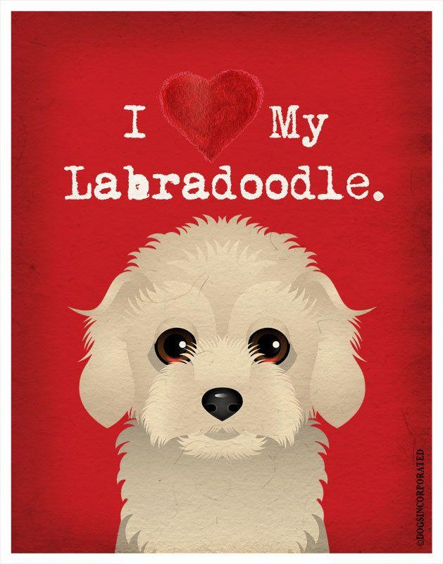 I Love My Labradoodle - I Heart My Labradoodle - Dog Poster $20.00 via Etsy