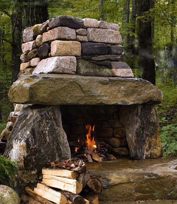 Backyard fireplace and Outside fireplace