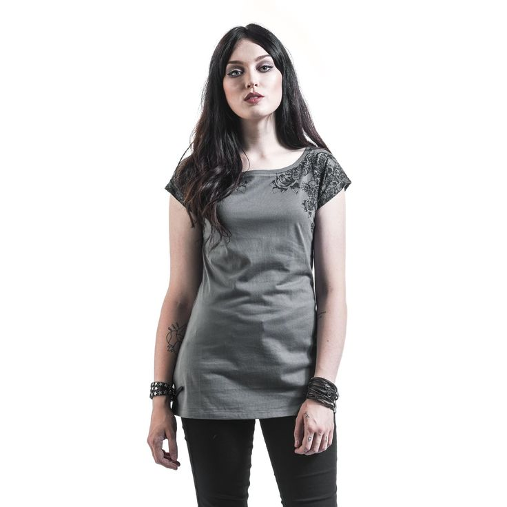 "Black Premium by EMP T-Shirt, Donna ""Skulls and Roses"" grigio chiaro • EMP"