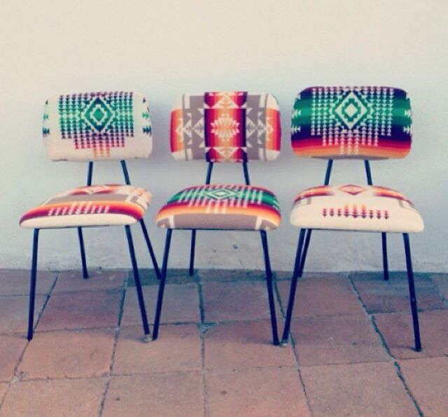 Navajo patterned chairs. Find in vinyl or some kind of fur friendly material