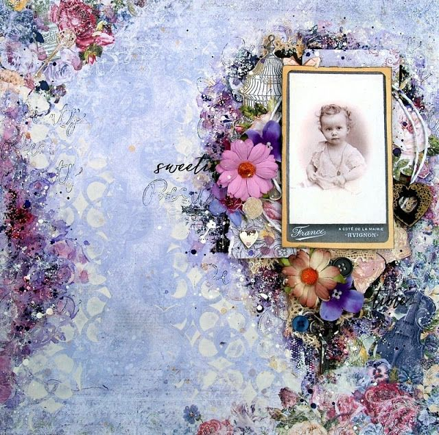 Scraps of Elegance scrapbook kits: lavender mixed media layout by Anna Rogalska, created with our July 2016 kit 'Sunshine &…