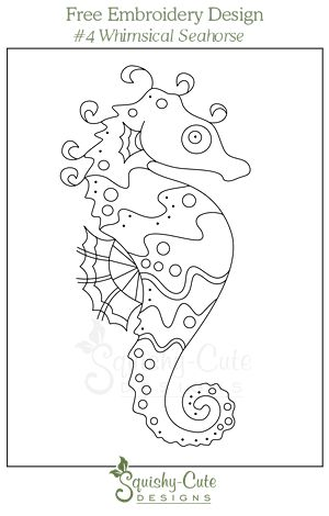 Free hand embroidery designs - printable embroidery pattern - seahorse