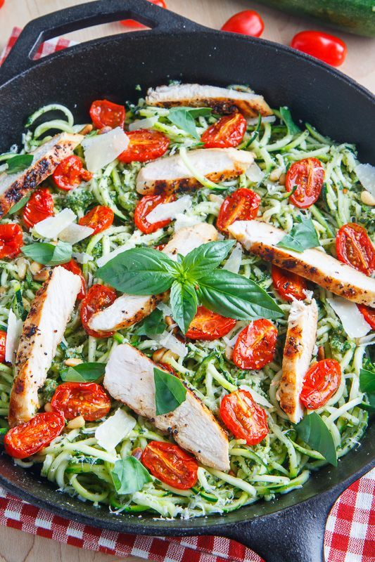 "Pesto Zucchini Noodles with Roasted Tomatoes and Tofu ""Chicken"""