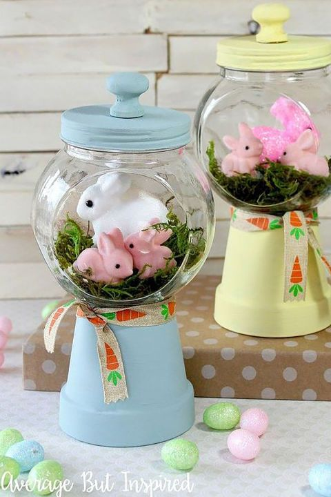 With an upside-down flower pot and an empty candy jar, you can create the look of a gumball machine with a sweet Easter scene inside. Get the tutorial at Average But Inspired.