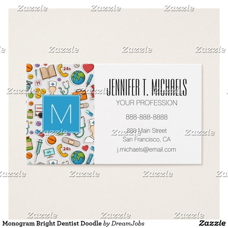 Monogram Bright Dentist Doodle. Producto disponible en tienda Zazzle. Product available in Zazzle store. #BusinessCard #tarjeta #card