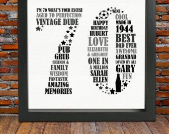 Personalized Birthday Gift 70th birthday 70th by BlingPrints