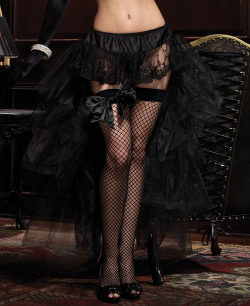 Leg Avenue A1698 Black Layered Hi Low Long Tulle Burlesque Bustle Skirt.  One Size Fits Most.  (90 - 150 lbs)
