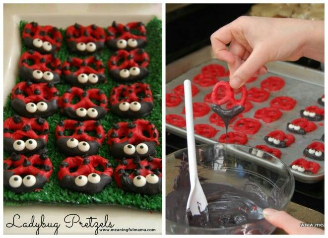 Lady bug  Chocolate dipped pretzels
