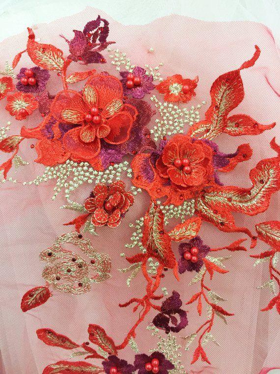 Off White Elagant Pearl Beaded 3D Sequin Floral Applique for DIY Wedding Dance Shirt Dressing Costume