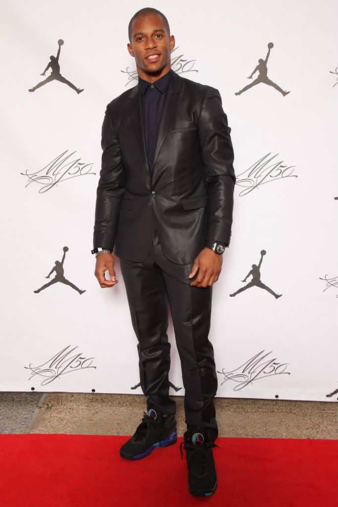 Victor Cruz in Calvin Klein at Michael Jordan's 50th birthday party