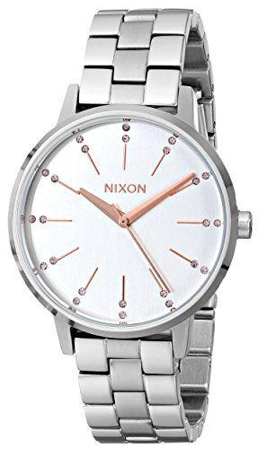#Nixon The Kensington watch featuring a beautifully simple silver dial with rose gold markers on a stainless steel case and band.