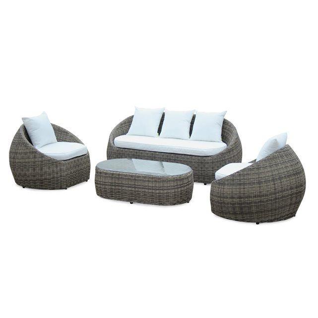 Salon de jardin table en résine tressée arronde 4 places Ritardo canapé fauteuil ALICE S GARDEN