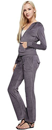 Women's Athletic Clothing Sets - Marilyn  Main Womens Active 2Piece Velour Hoodie and Pants Suit Set -- Check out this great product.