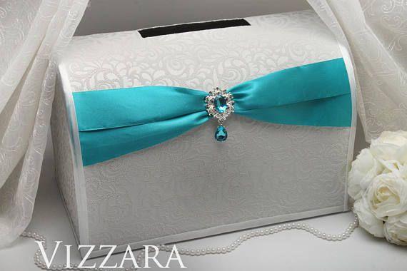 Wedding money boxes Teal wedding Money box weddings Teal wedding ideas Wedding money box ideas Teal and white wedding