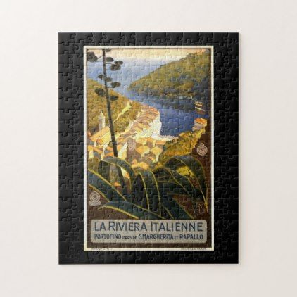 Vintage Tourism Travel Poster La Riviera Italienne Jigsaw Puzzle - vintage gifts retro ideas cyo