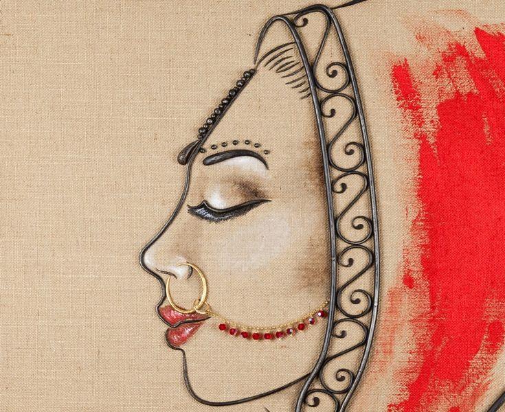 Quadro in ferro Sposa indiana| Artisti contemporanei