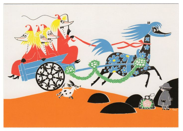 Tove Jansson - Fillyjonks and horse Primadonna postcard (Who Will Comfort Toffle?) via Kiosk Mamymuminka (Moomin PL)