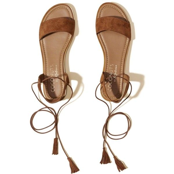 Hollister Coconuts By Matisse Sting Sandal (€65) ❤ liked on Polyvore featuring shoes, sandals, brown, ankle tie sandals, low heel shoes, brown shoes, tie sandals and small heel shoes