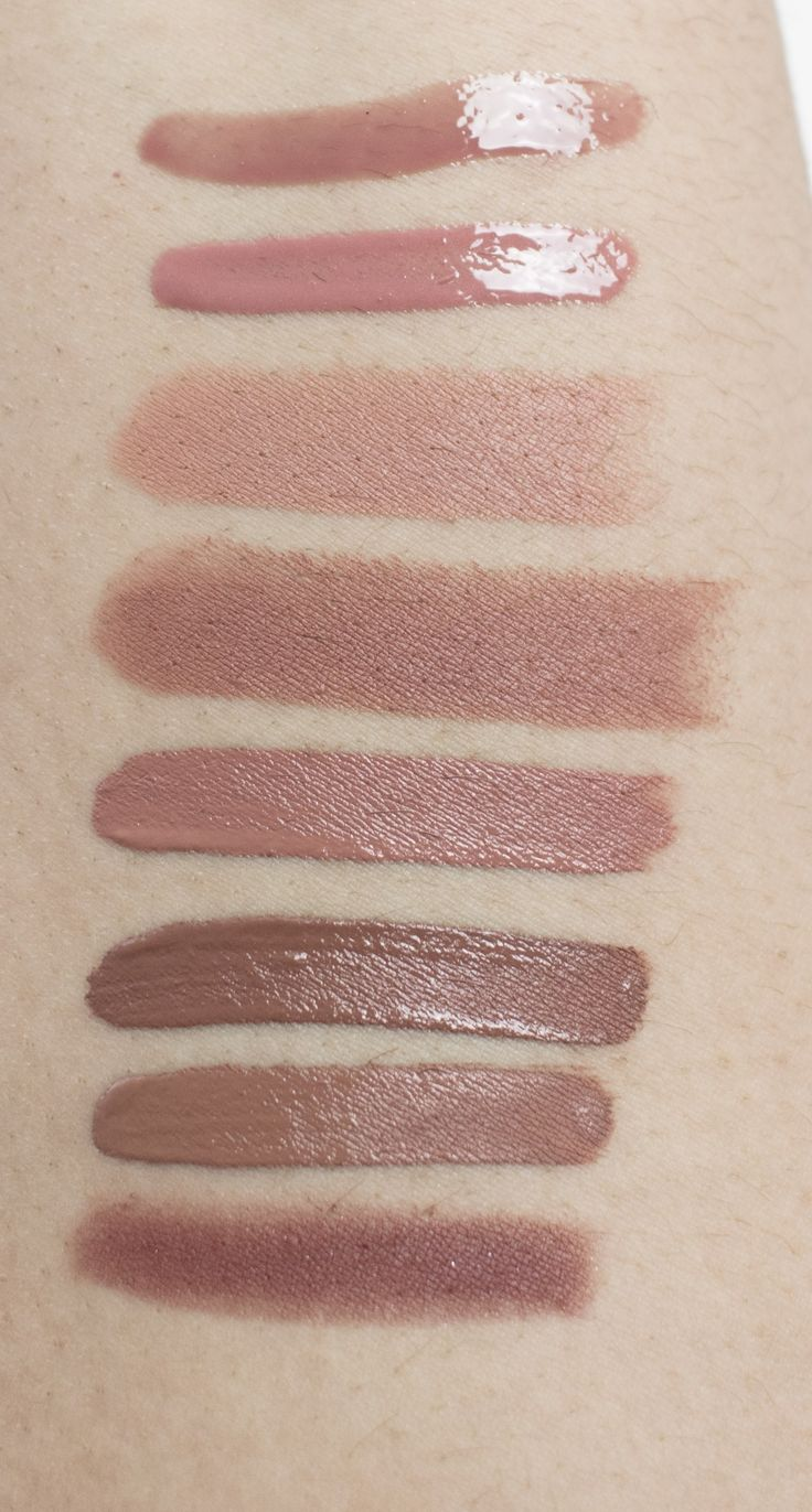 Nude lipsticks and glosses top to bottom: Sephora Earth and Fire, Lorac Duchess, MAC Honeylove, MAC Velvet Teddy, Dose of Colors Truffle, Jouer Noisette, Kat Von D Bow n Arrow, NARS Bahama
