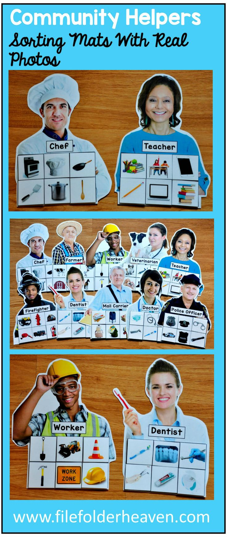 These Community Helpers Sorting Mats w/ Real Photos include 10 unique sorting mats that focus on identifying community helpers and objects associated with them. At an independent workstation, center or language group, students complete the following sorting mats by identifying the community helper and the things associated with him or her. For example the police officer mat includes handcuffs, a police car, a flashlight, a police hat, a police vest, etc.