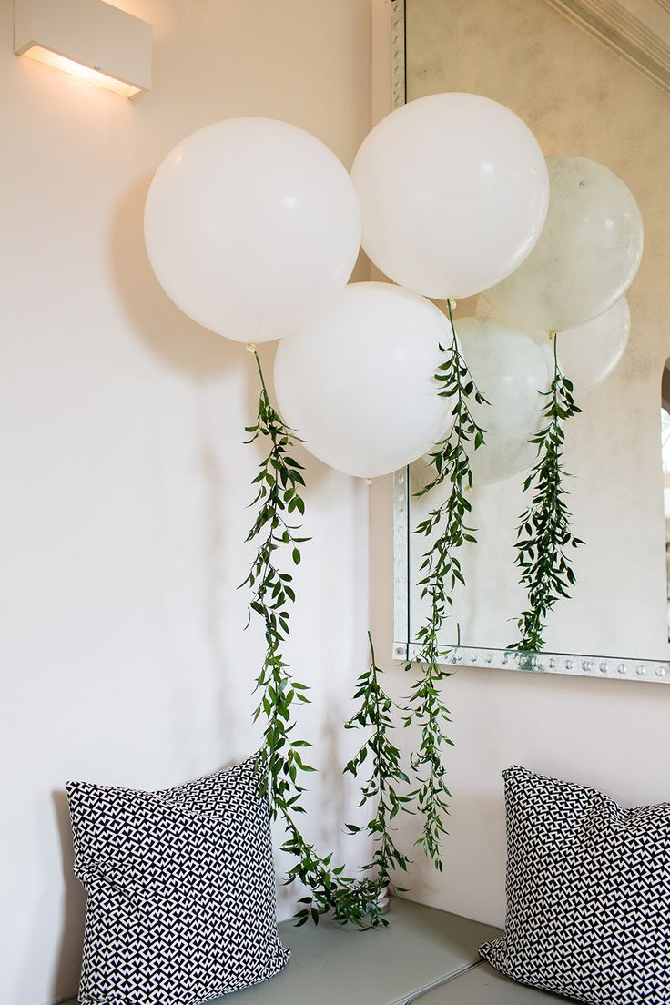 Giant Balloons with Foliage Garland - Jo Hastings Photography | Romantic Blush Pink Wedding at Iscoyd Park in Shropshire | Pronovias Bridal Gown | Debenhams Bridesmaid Dresses | Hugo Boss Suit