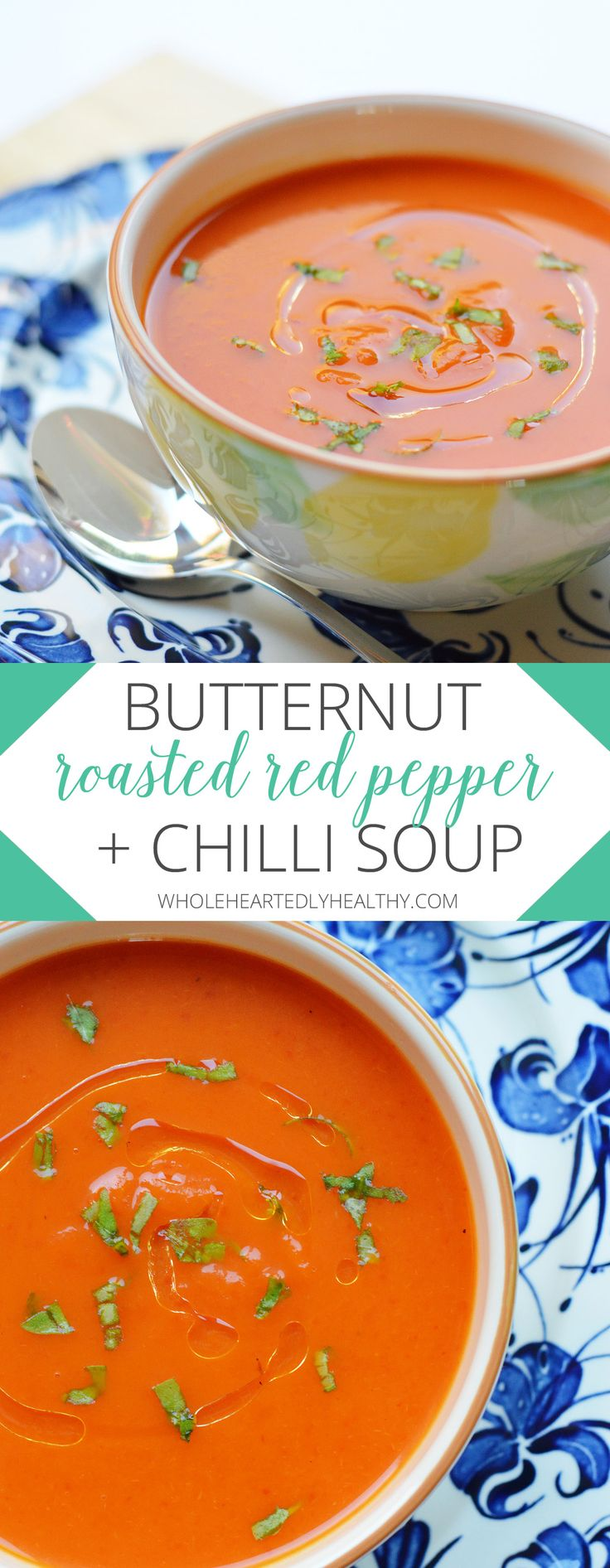 butternut roasted red pepper and chilli soup #healthyrecipes #soup #vegan