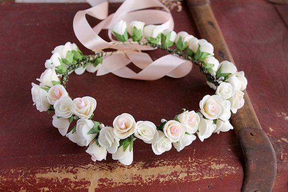 Boho Wedding Head Wreath, Bridal Floral Crown, Rose Crown, Flower Girl Wreath Ivory, Woodland Wedding Crown, Ivory Roses Hair Wreath, Halo on Etsy, $28.50