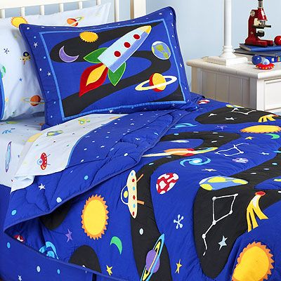 Rocket ship outer space boys bedding sheet sets for Childrens rocket bed