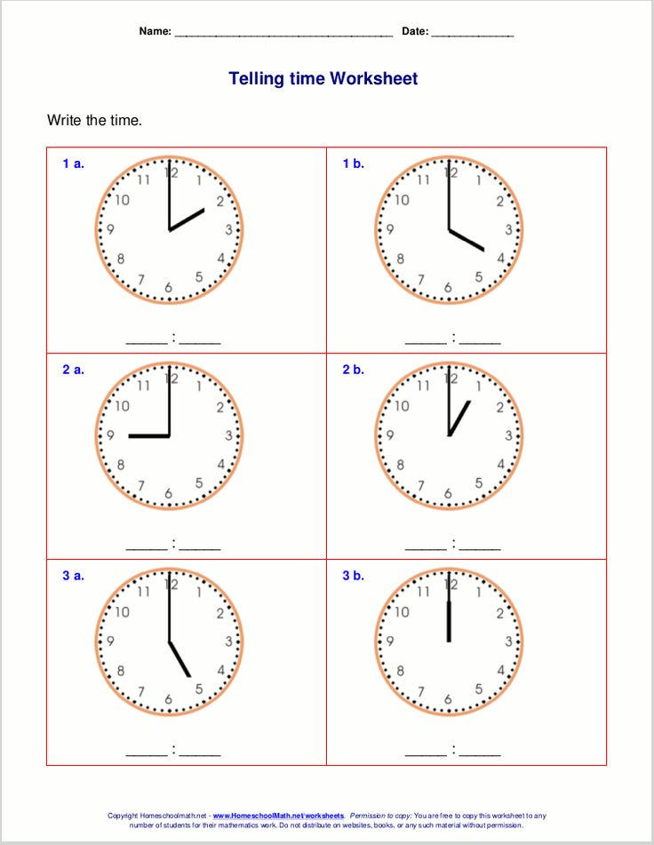 Telling time worksheets for 1st grade Telling time