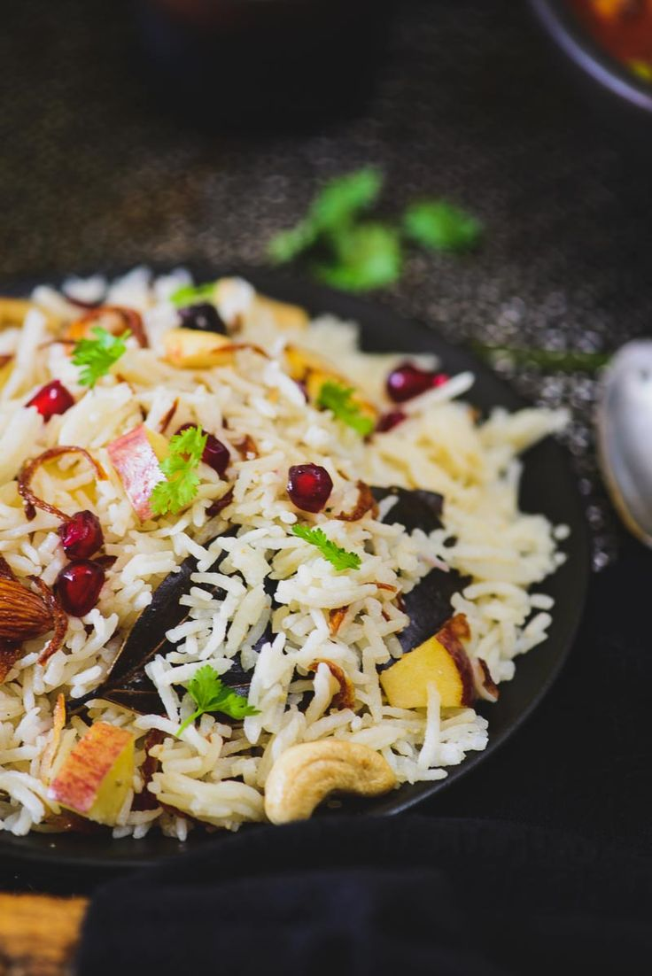 Kashmiri Pulao is a delicious rice preparation where rice is cooked in milk and is loaded with dry fruits and fruits.