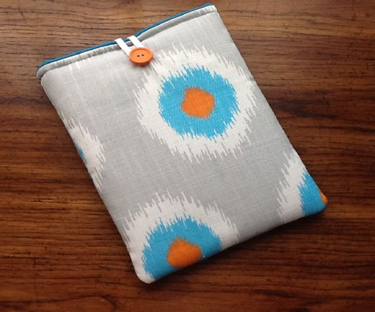 """IPad Cover Sleeve. Nook HD Cover Sleeve, Samsung Galaxy Tab2 Sleeve Cover, Turquoise, Orange, Grey  Print, 10"""" x 7"""" by LindaLeasBoutique on Etsy"""