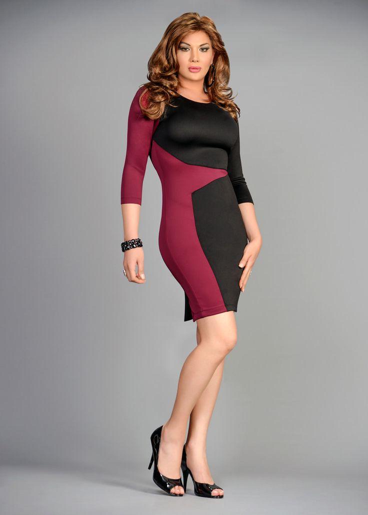 Color blocked dress slimming
