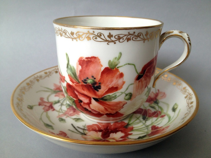 19th Century Berlin Hand Painted Cup and Saucer