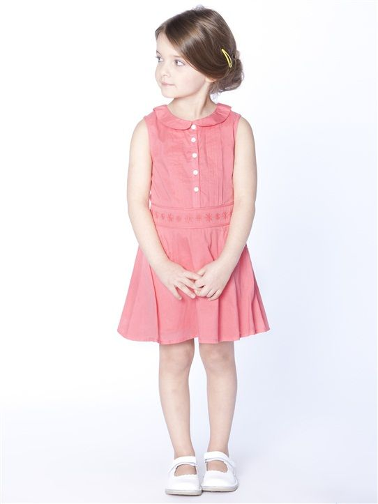 ROBE COL CLAUDINE FILLE CORAIL  - from French retailer Cyrillus - claradeparis.com ♥