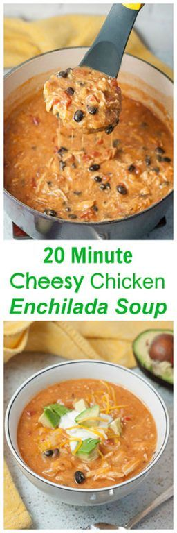 Flavorful and filling 20 Minute Cheesy Chicken Enchilada Soup recipe is super easy to cook up and full of the BEST flavors! This is very kid-friendly!