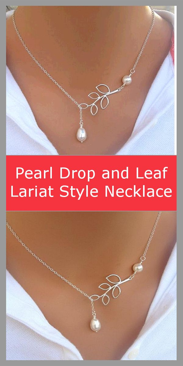 Simply adorable! A pearl hanging from a lariat style chain with branch leaf connector.