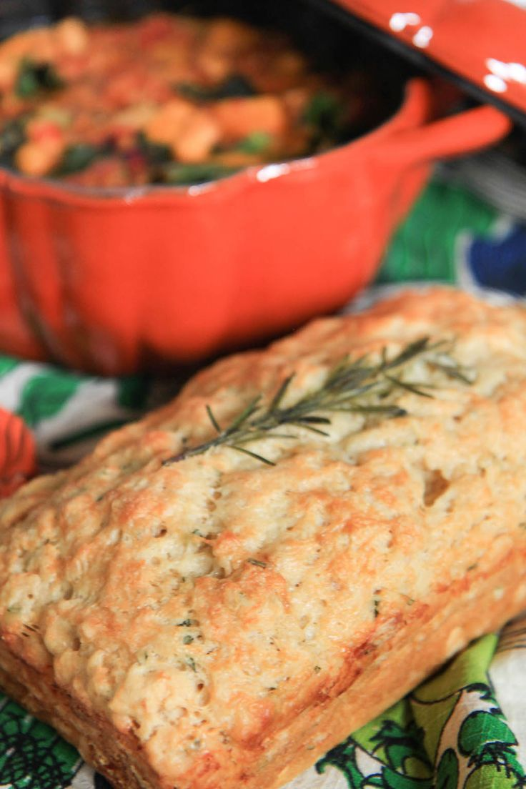 A classic beer bread recipe jazzed up with rosemary, garlic, and Havarti cheese.