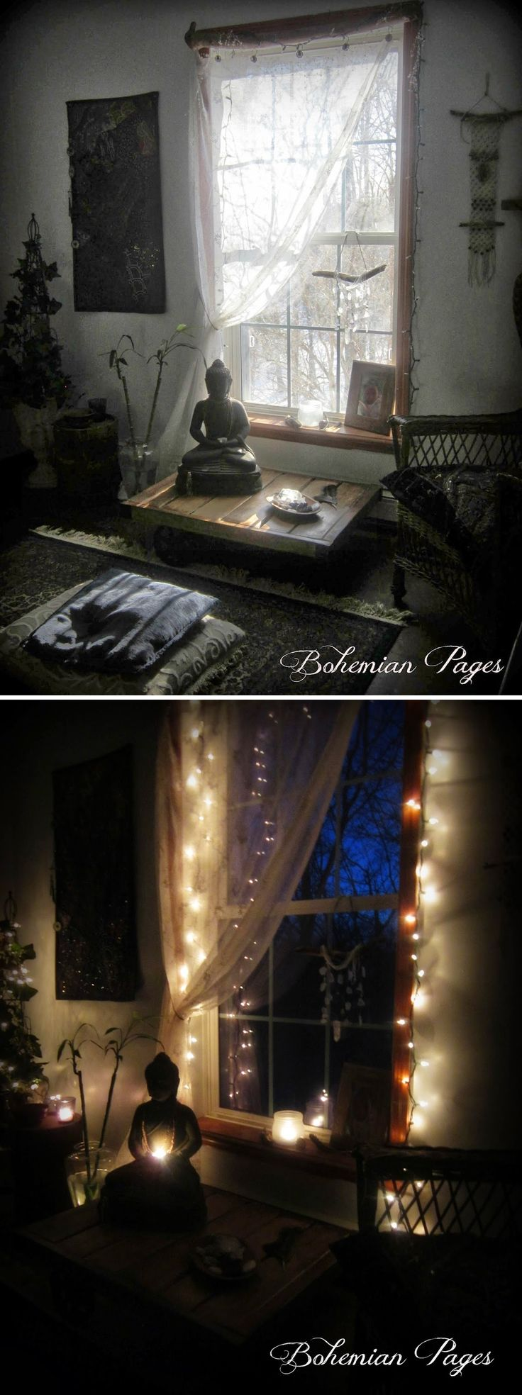 A beautiful & serene meditation space by Linda of Bohemian Pages
