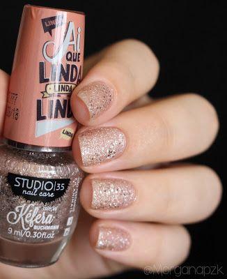"""#BrilhoMesmo"" da Kéfera Bunchmann   Glitter Pink Nails   Nail art   Sand Nail Polish   Esmalte Texturizado Nude   Studio 35   Chique   Elegante   Reveillon   by @morganapzk"