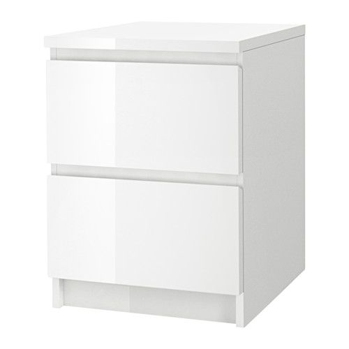 IKEA MALM Chest of 2 drawers White/high-gloss 40x55 cm Extra roomy drawers; more space for storage.