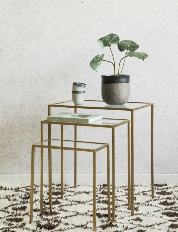 Set of Three Brass & Glass Side Tables