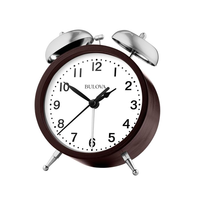 This contemporaryalarm clock features a bent wood case with espresso finish and satin silver feet and alarm bells;quiet sweep seconds hand andloud mechanical alarm bells.