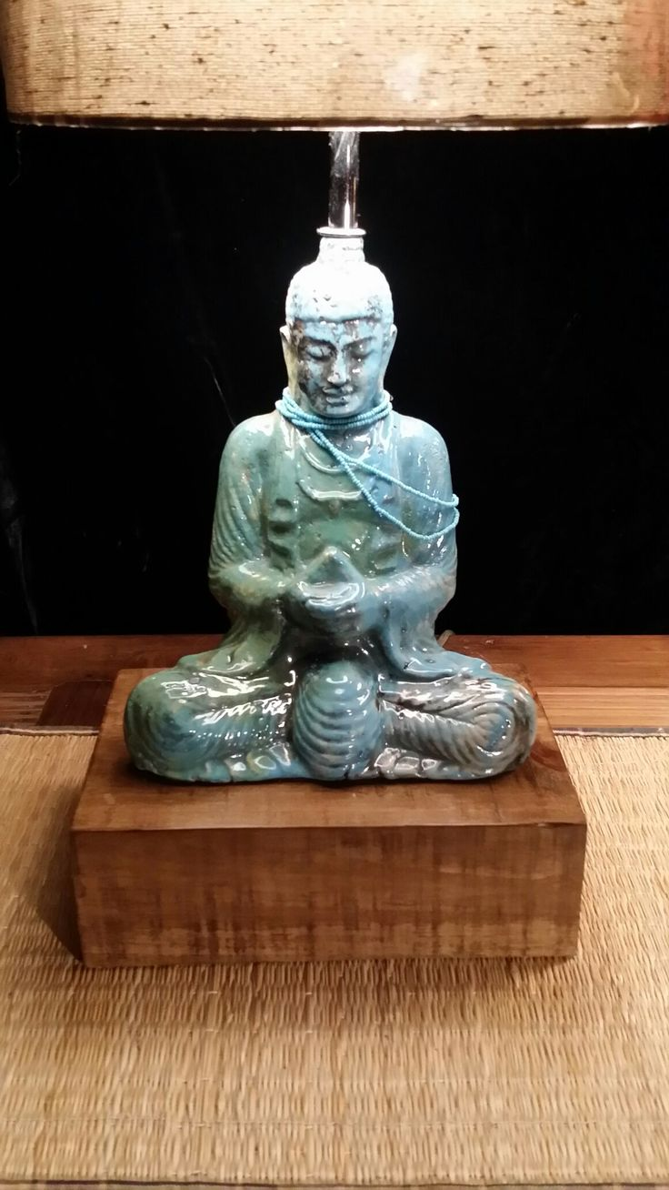 Abajur cerâmica Buda técnica oriental Raku #Buddha #Lamp table pedestal