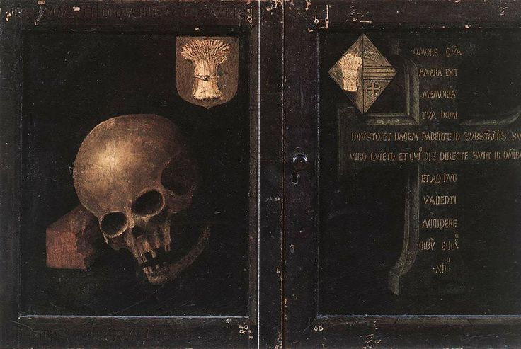 The outer panels of Rogier van der Weyden's Braque Triptych shows the skull of the patron displayed in the inner panels. The bones rest on a brick, a symbol of his former industry and achievement. en.wikipedia.org/wiki/Memento_mori