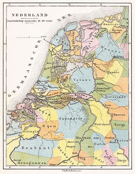 10th century - The districts of the Low Countries