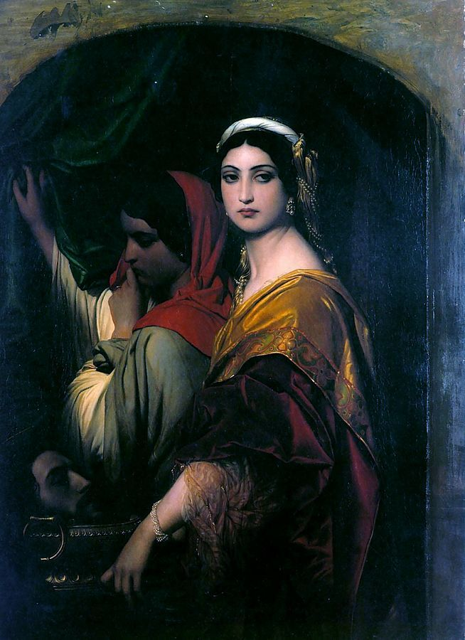 Herodias, by Paul Delaroche. She was a princess of the Herodian Dynasty of Judaea during the time of the Roman Empire, and mother to the better-known Salome (hence the head in the painting).