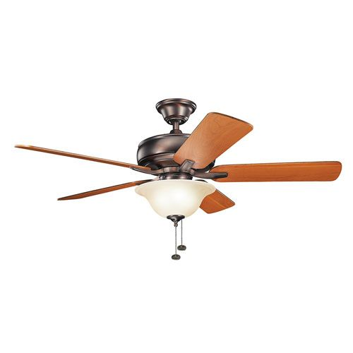 Terra Oil Brushed Bronze 52 Inch Ceiling Fan With Light Kit Kichler Stem Mounted Fan Ceili