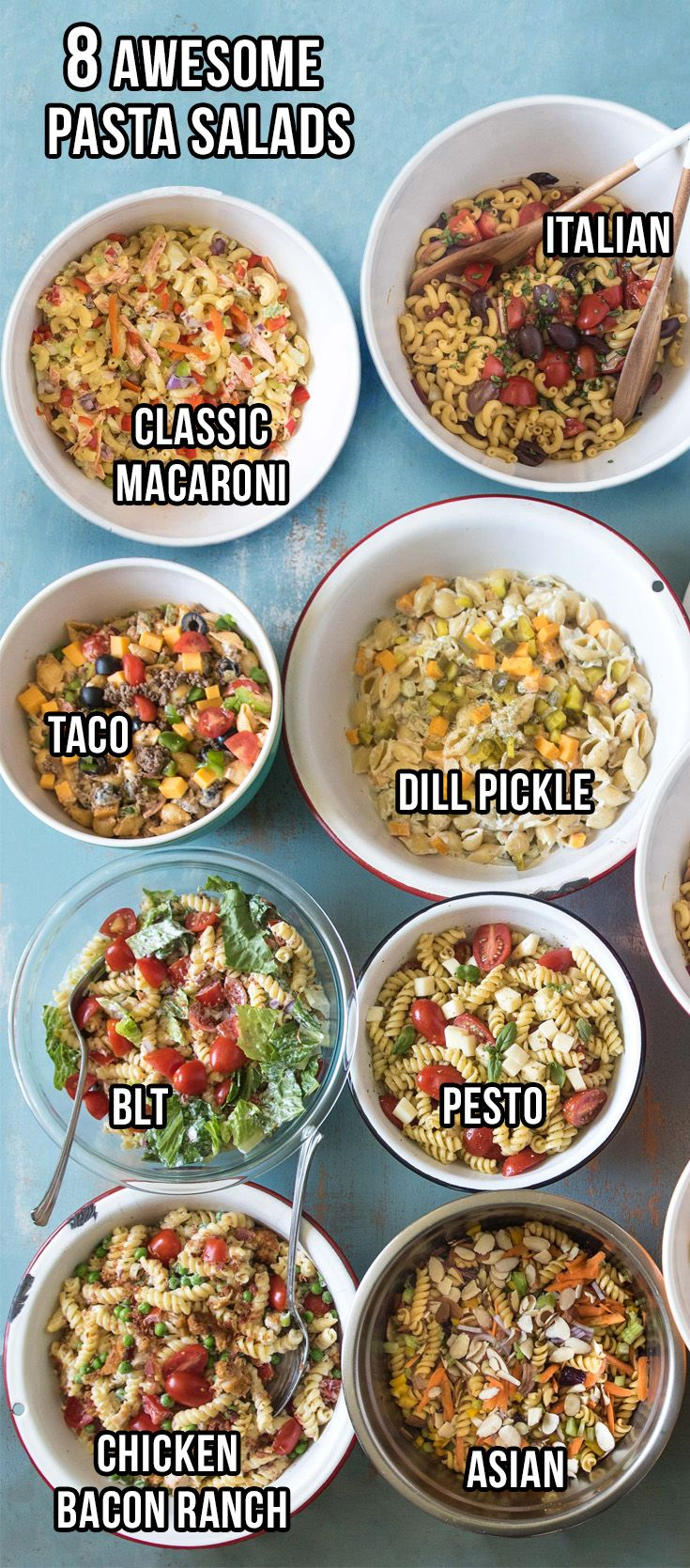 8 of my favorite pasta salad recipes plus tips and tricks on making the best pasta salad ever. BLT, Asian, Italian, Pesto, and more!